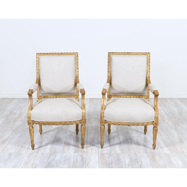 French Antique Louis XVI Giltwood Arm Chairs-A Pair For Sale - Image 11 of 12