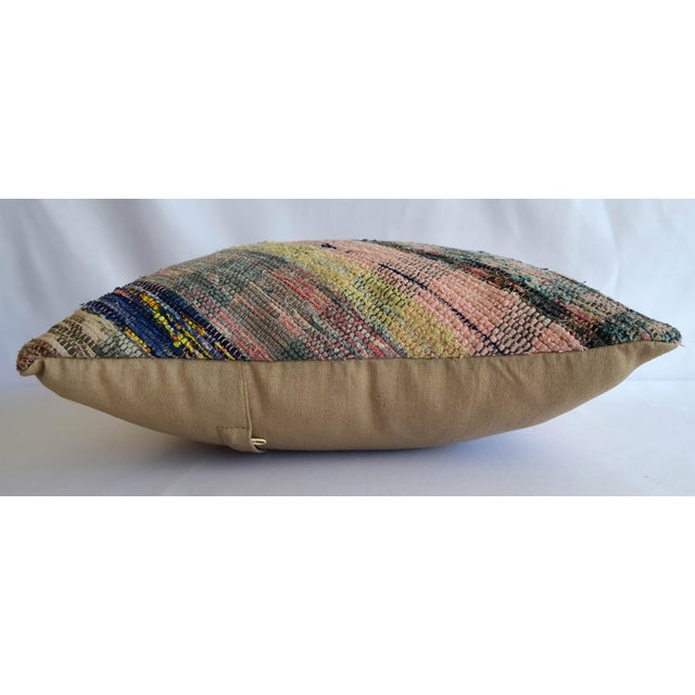 "Islamic 16"" Pillow Cover Vintage Handmade Cotton Ragrug Kilim Sham Throw For Sale - Image 3 of 6"