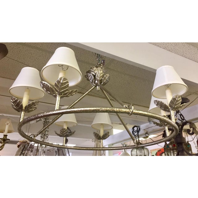 1960s Shabby Chic Vaughn Montferat Hammered Silver Chandelier For Sale - Image 4 of 10