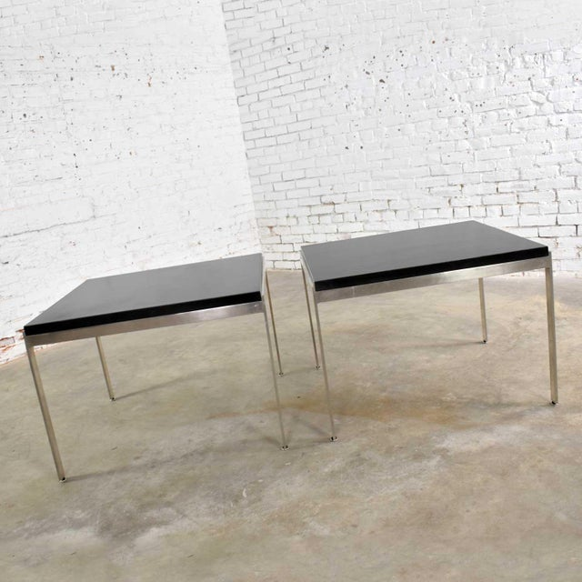 Mid-Century Modern Pair Vintage Large Modern Square End Tables in Stainless Steel With Black Laminate Tops For Sale - Image 3 of 13