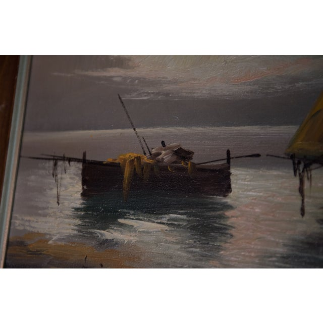 """Vintage """"Sailboats at Sunset"""" Oil Painting For Sale - Image 4 of 6"""