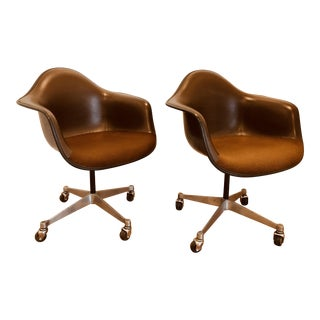 Mid Century Modern Charles Eames for Herman Miller Brown Vinyl Side Chairs - a Pair
