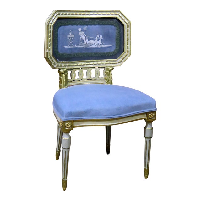 Early 20th Century Antique Distressed Painted Louis XV Style Side Chair For Sale