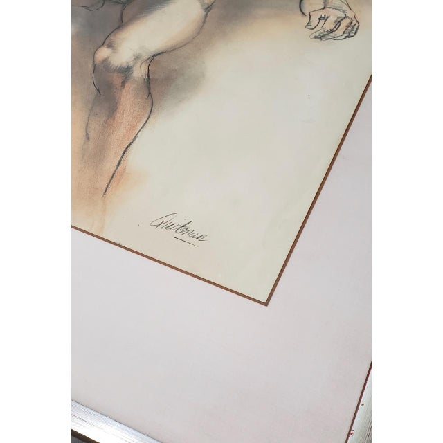 Framed Vintage Figural Nude Charcoal Study by Quitman For Sale - Image 9 of 10