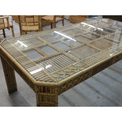 Bamboo & Seagrass Fretwork Dining Table - Image 2 of 11