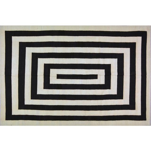 """Contemporary Maimana Kilim Rug - 6'7""""x9'9"""" For Sale In New York - Image 6 of 6"""