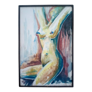 Mid 20th Century Cubist Style Figurative Female Nude Oil Painting, Framed For Sale