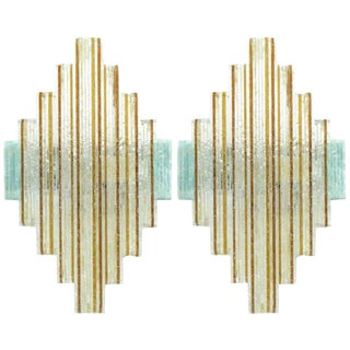 Murano Glass Icicles Stacked Sconces by Poliarte - a Pair For Sale