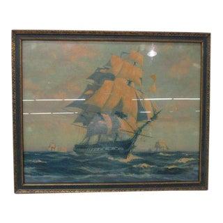 1927 Vintage Nautical Ship Gordan Grant Framed Print For Sale