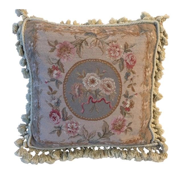 Large Grey, Blue, Cream Needlepoint Pillow - Image 1 of 6