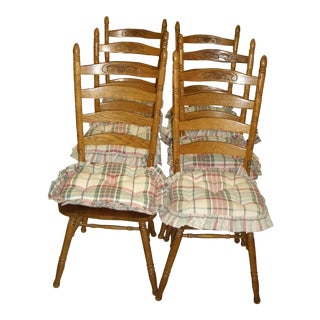 Americana Ladderback Oak Dining Chairs - Set of 6 For Sale