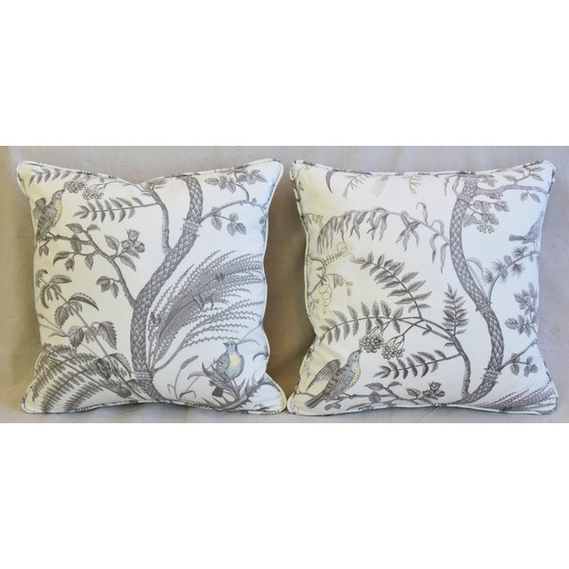Pair of custom-tailored pillows in unused Brunschwig & Fils printed cotton fabric depicting a beautiful design of birds...