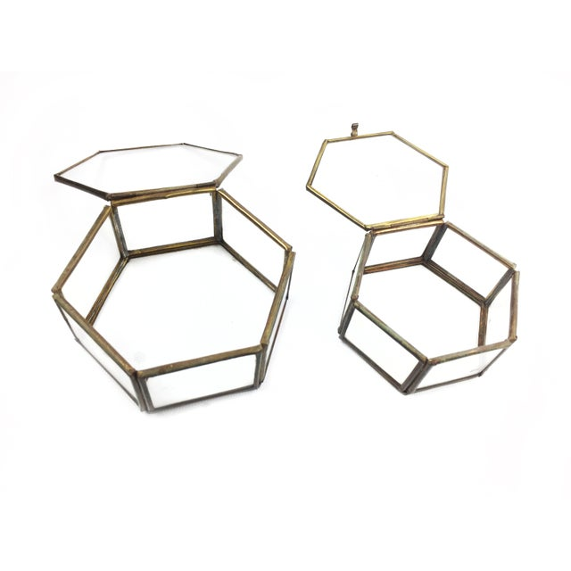 Boho Chic Vintage Mid Century Geometric Hexagon Glass and Brass Display Cases / Boxes - Set of 2 For Sale - Image 3 of 4