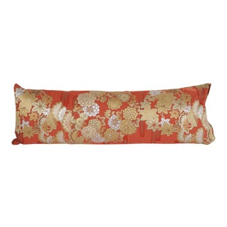 Japanese Silk Kimono Obi Bolster Pillow For Sale