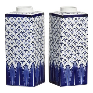 Large Chinese Blue & White Porcelain Jars - a Pair