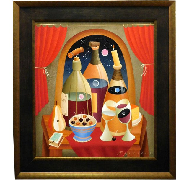 "Anton Arkhipov ""Drink Wine"" Original Oil Painting on Canvas For Sale"
