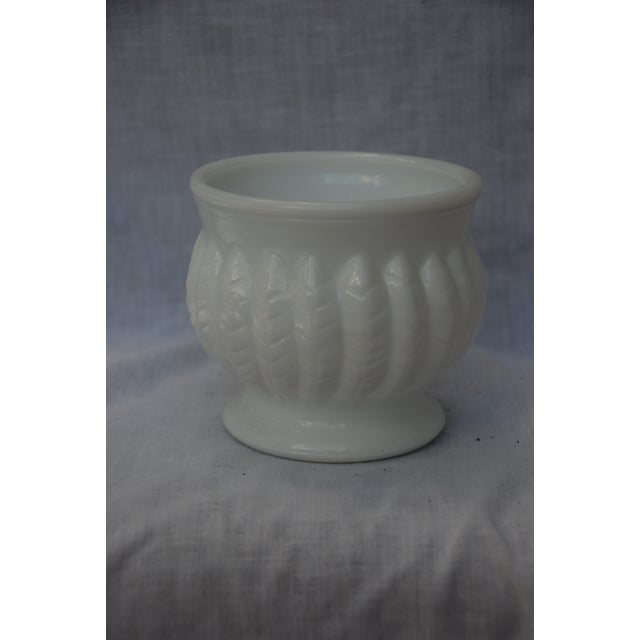 Beautiful small milk glass vase by Randall. Intricate leaf design on the body of the vase. Would look amazing with pink...