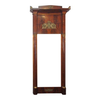 Antique French Empire Mahogany Pier Mirror For Sale
