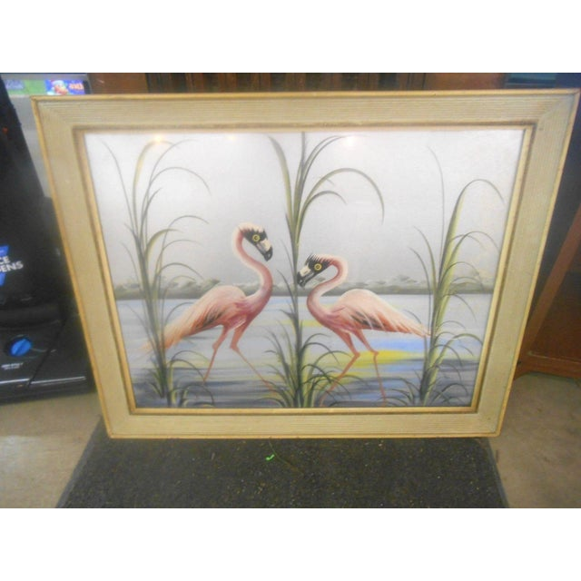 Paint Vintage Retro Pink Flamingos Hand Painted Wall Art, 1950s For Sale - Image 7 of 7