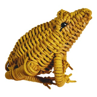 Vintage Wicker Frog Yellow For Sale