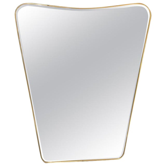 Oversized Italian Minimal Curvilinear Brass Mirror, 1950s For Sale