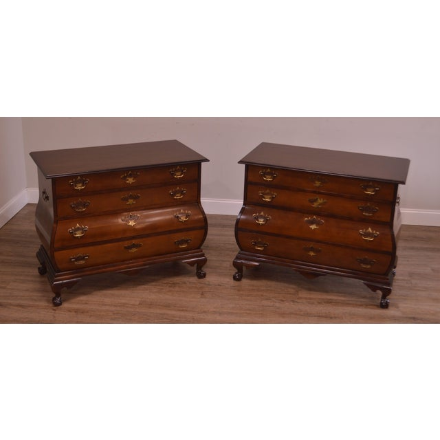 Chippendale Chippendale Style Kettle Base Pair Mahogany Bombe Claw Foot Chests For Sale - Image 3 of 12