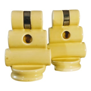 Original Yellow Art Deco Porcelain Towel Bar Holders - a Pair For Sale