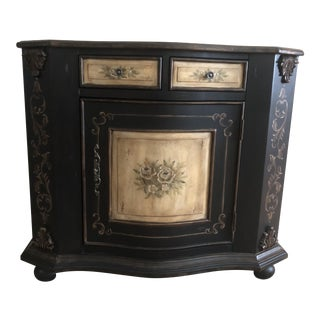 French Country Lane Hand Painted Black Cabinet For Sale