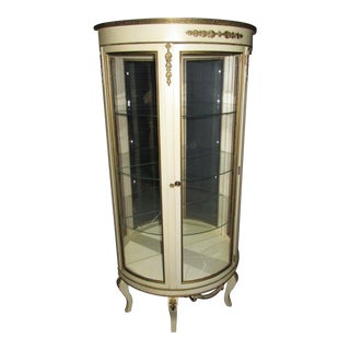 Vintage French Provincial Off White Cream Curio Cabinet ~ Display Cabinet For Sale