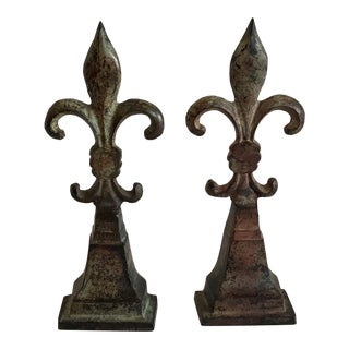 20th Century French Iron Fleur-De-Lis Bookends - a Pair For Sale