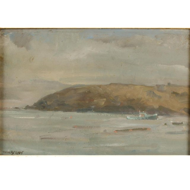 Misty Morning, view from ocean towards Monhegan Island - Oil on Canvas , signed lower left and dated 2005 - Framed...