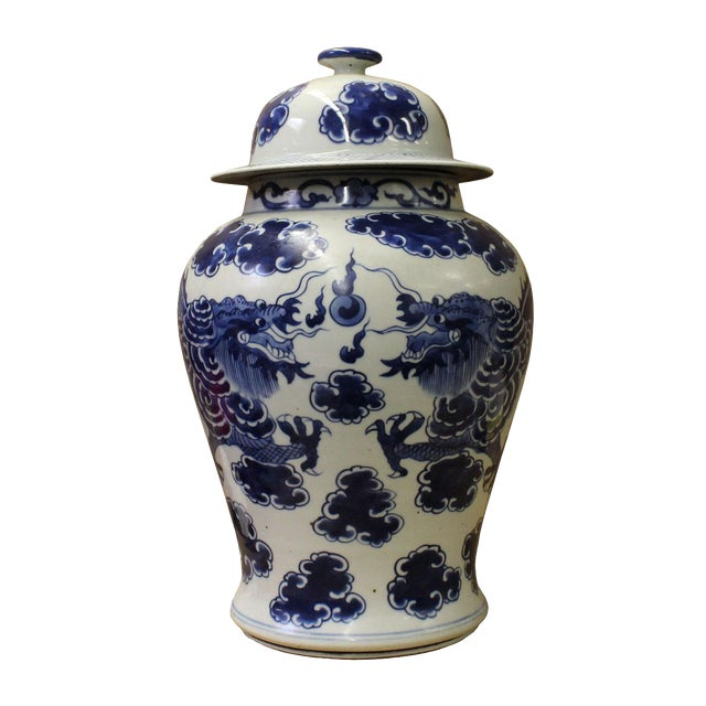 Chinese Blue & White Porcelain Double Dragon Temple General Jar cs2673 - Image 1 of 5