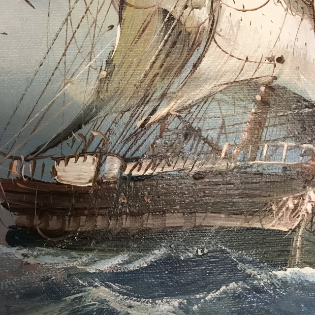 """Original signed clipper ship painting with frame and linen matting. This image is so detailed and striking. Image is 15.5""""..."""