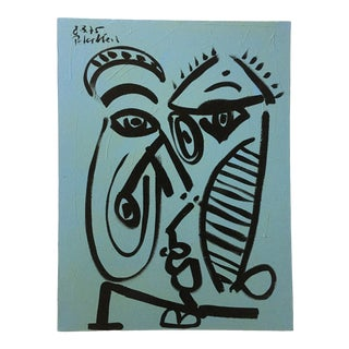 """1970s """"Abstrakt Face"""" Painting by Peter Keil For Sale"""