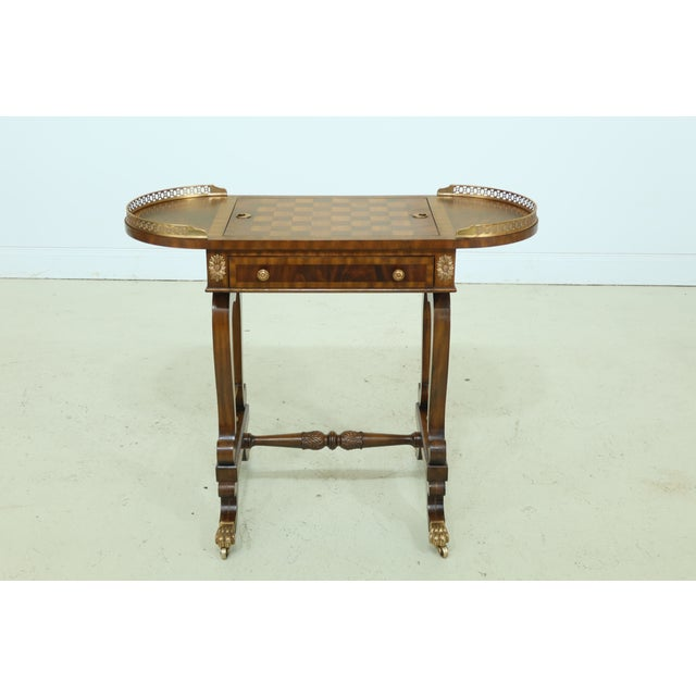 Maitland Smith Checkerboard Reversible Top Mahogany Games Table For Sale - Image 13 of 13
