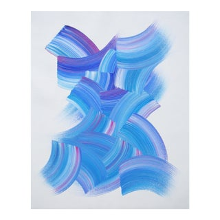 Original Abstract Blue Acrylic Painting