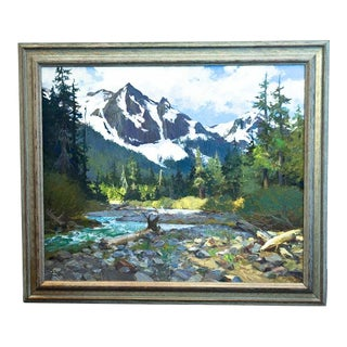 "1970s Vintage Ken Gore ""In the Rockies"" Oil on Masonite Painting For Sale"