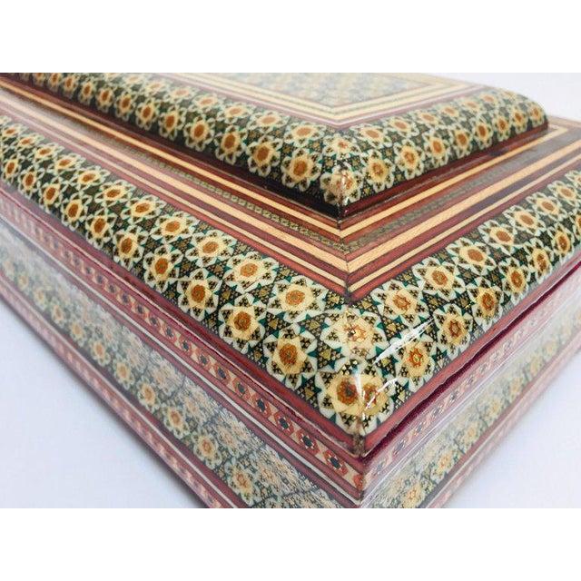 Wood Large Persian Jewelry Mosaic Khatam Inlaid Box For Sale - Image 7 of 13