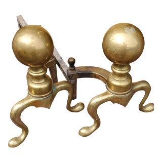 Antique Solid Brass Ball Andirons - a Pair, 19th Century, For Sale