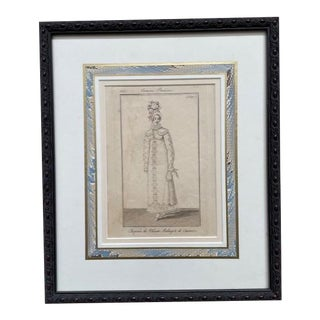 Early 19th Century French Women's Fashion Print, Framed For Sale