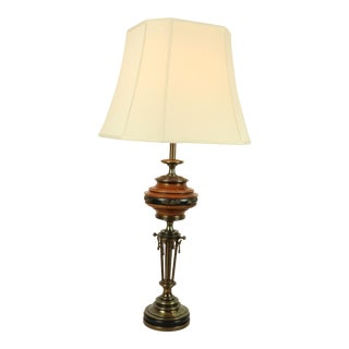 1960s Mid Century Modern Brass Wood Stiffel Regency Floral Table Lamp For Sale