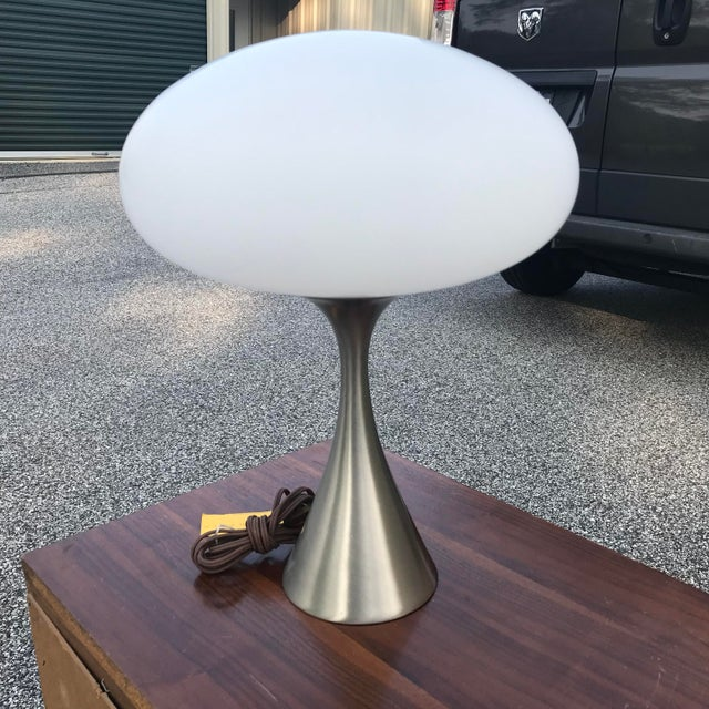 Mid-Century Modern Laurel Mushroom Lamp in Satin Chrome For Sale - Image 3 of 13