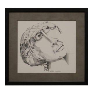 Graphite Portrait Illustration by Walter Peregoy For Sale