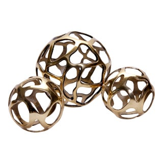 1980s Brass Orbs - Set of 3 For Sale