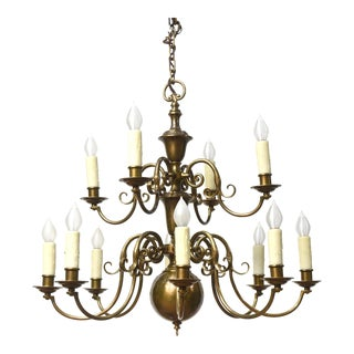 Two Tier Twelve Arm Colonial Chandelier For Sale