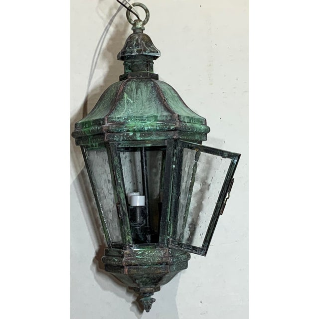 Mid-Century Modern 1970s Solid Brass Verdigris Hanging Lantern For Sale - Image 3 of 13