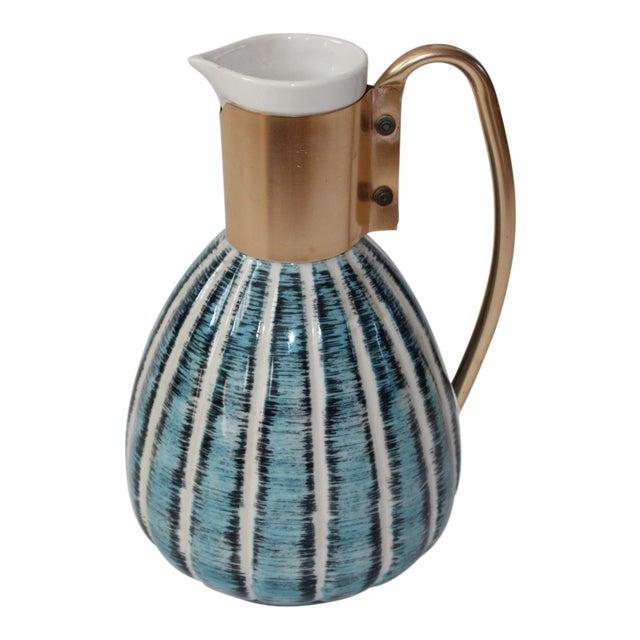 1957 Vintage C Miller Mid Century Ceramic Warming Carafe Decanter For Sale