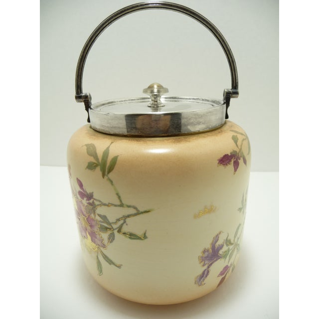 Hand Painted Antique European Porcelain Biscuit Barrel For Sale - Image 4 of 10