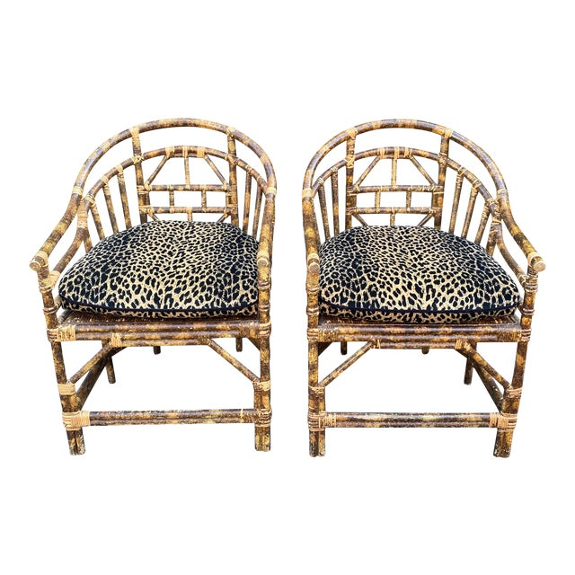 Regency Style Bamboo Barrel Chairs W Cheetah Cushions - a Pair For Sale