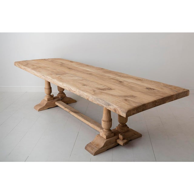 Oak 19th Century French Large Bleached Oak Provençal Style Trestle Table For Sale - Image 7 of 13